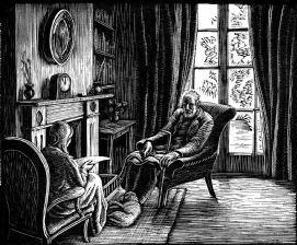 wood-engraving original print: Old People for Time and Tide story by Gwen Raverat